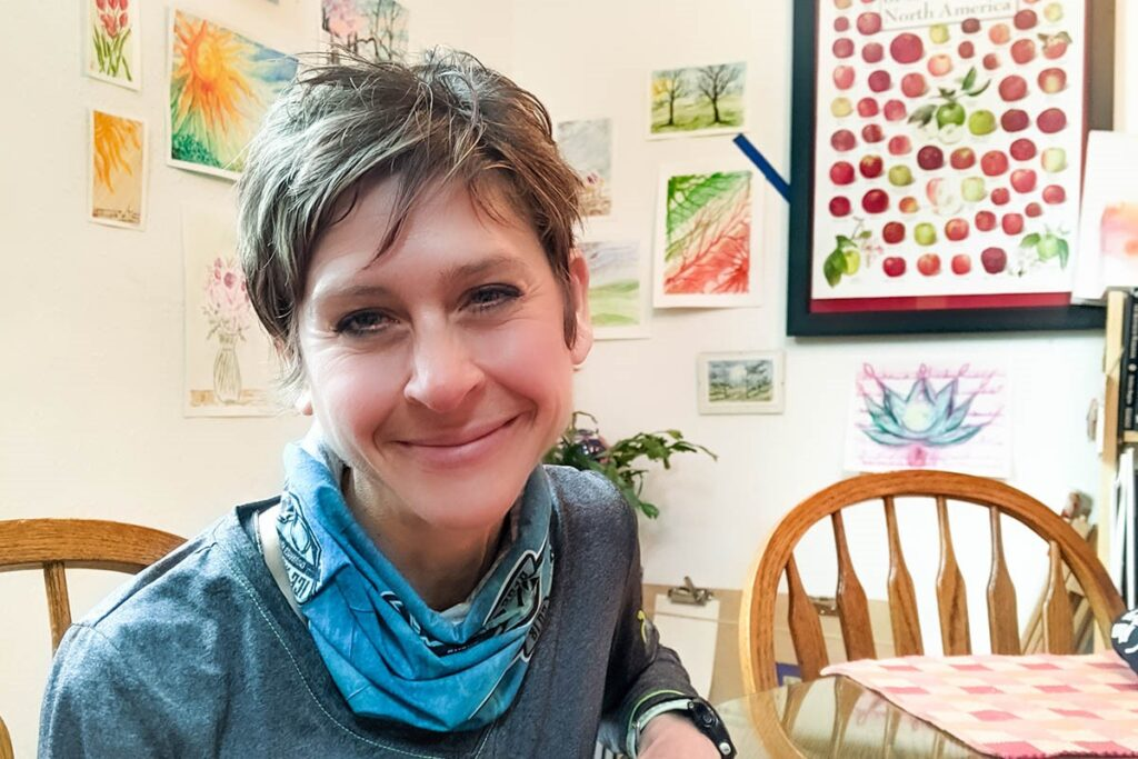 Rachel Monaco-Wilcox with watercolors for Human Powered podcast