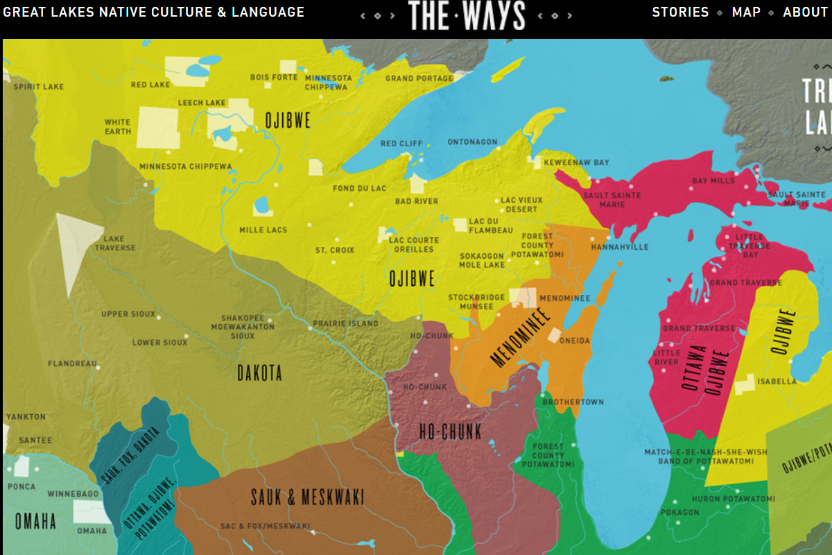 Map of Great Lakes Native Lands and Tribes