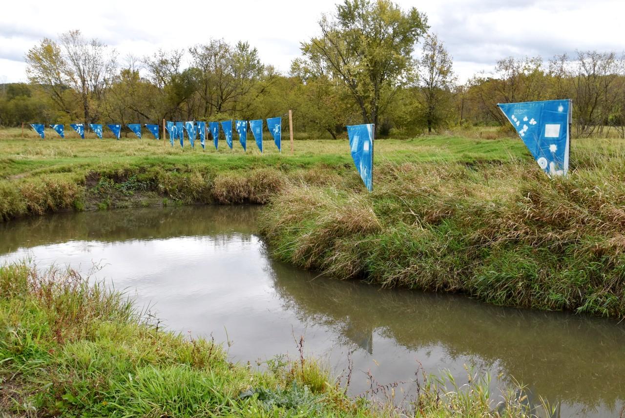 Fermentation Fest art along the river